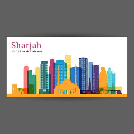 Sharjah city architecture silhouette. Colorful skyline. City flat design. Vector business card.
