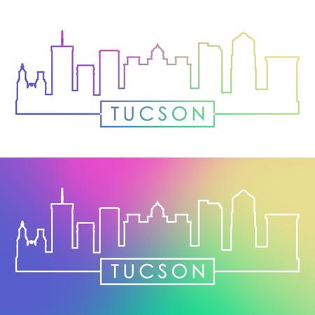 Tucson skyline. Colorful linear style. Editable vector file.