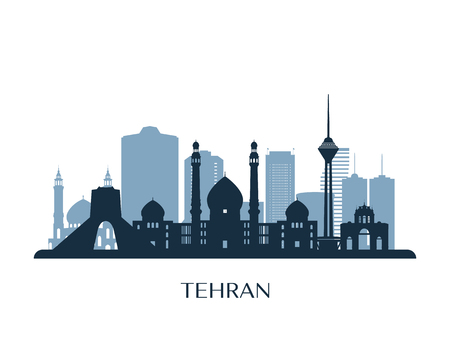 Tehran skyline, monochrome silhouette. Vector illustration. 向量圖像