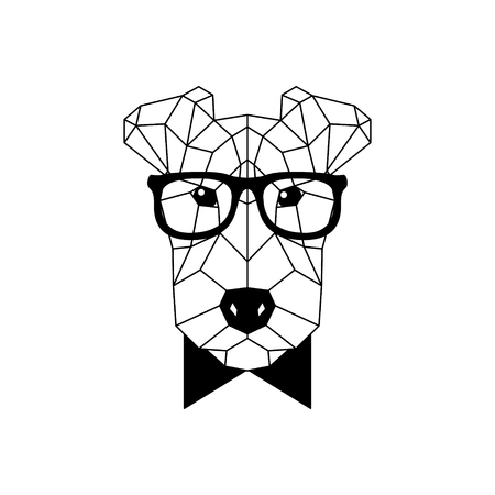 Polygonal Fox Terrier Dog in fashion glasses and bow tie. Geometric dog icon. Vector illustration.  イラスト・ベクター素材