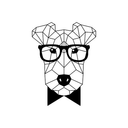 Perro Fox Terrier poligonal en gafas de moda y pajarita. Icono de perro geométrico. Ilustración de vector.