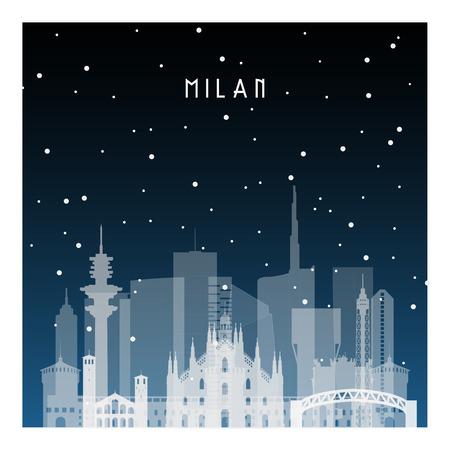 Noche de invierno en Milán. Ciudad de noche en estilo plano para pancarta, póster, ilustración, fondo.