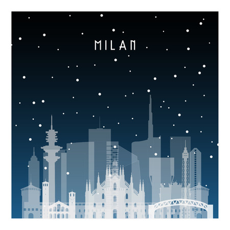 Notte d'inverno a Milano. Città di notte in stile piano per banner, poster, illustrazione, sfondo.
