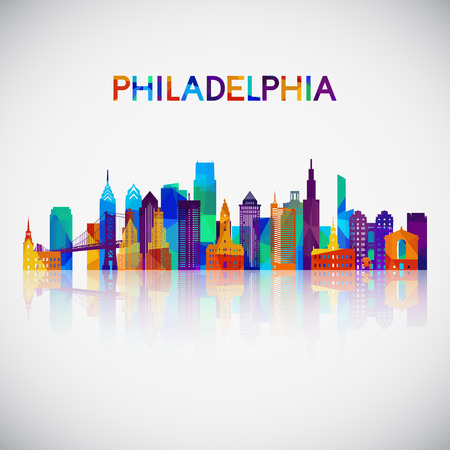 Philadelphia skyline silhouette in colorful geometric style. Symbol for your design. Vector illustration.