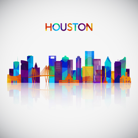 Houston skyline silhouette in colorful geometric style. Symbol for your design. Vector illustration.