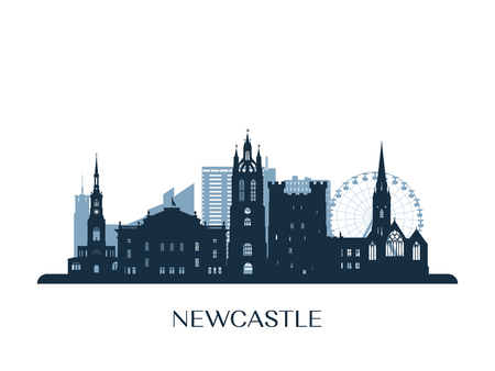 Newcastle skyline, monochrome silhouette. Vector illustration. 矢量图像