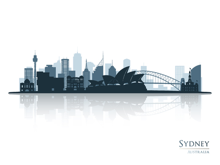 Sydney blue skyline silhouette with reflection. Vector illustration. Illustration