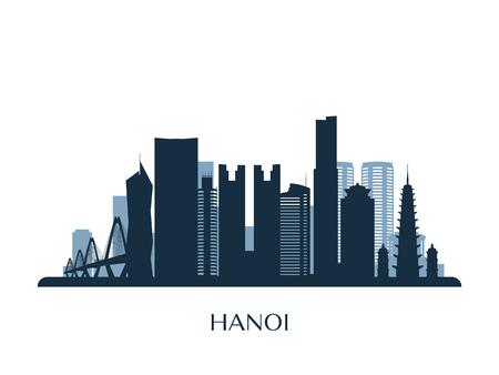 Hanoi skyline, monochrome silhouette. Vector illustration.