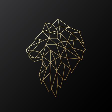 Golden polygonal Lion illustration isolated on black background. Geometric animal emblem. Vector illustration. 일러스트