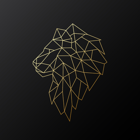 Golden polygonal Lion illustration isolated on black background. Geometric animal emblem. Vector illustration. Ilustrace
