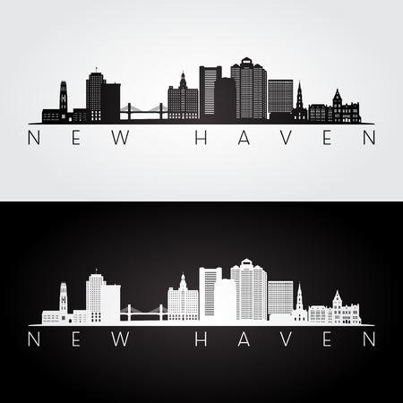 New Haven, USA skyline et points de repère silhouette, design noir et blanc, illustration vectorielle.