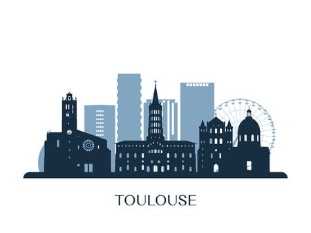 Toulouse skyline, monochrome silhouette. Vector illustration.