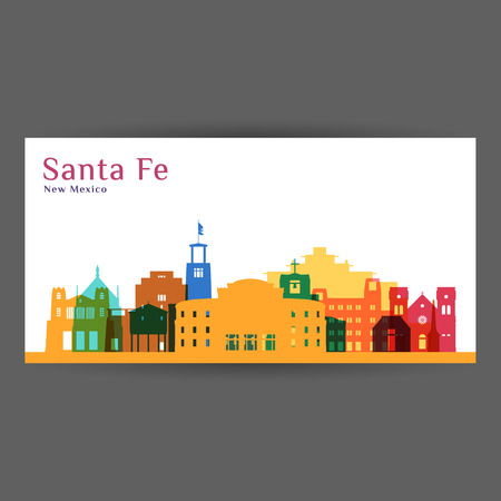 Santa Fe city architecture silhouette. Colorful skyline. City flat design. Vector business card.