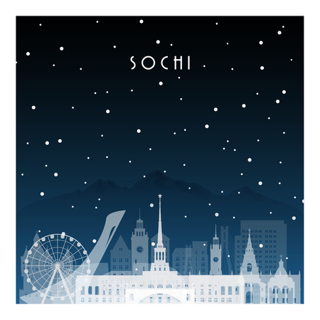 Winter night in Sochi. Night city in flat style for banner, poster, illustration, background.