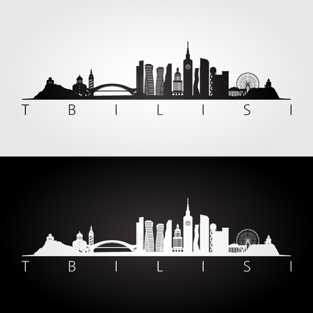 Tbilisi skyline and landmarks silhouette, black and white design, vector illustration.