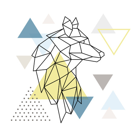 Geometric Wolf silhouette on triangle background. Polygonal Wolf emblem. Vector illustration.