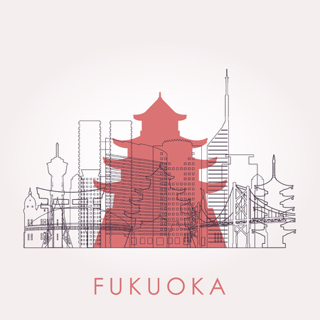 Outline Fukuoka skyline with landmarks. Vector illustration. Business travel and tourism concept with historic buildings. Image for presentation, banner, placard and web site. 向量圖像
