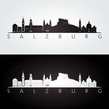 Salzburg skyline and landmarks silhouette, black and white design, vector illustration.