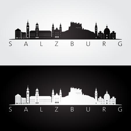 Silhouette d'horizon et de monuments de Salzbourg, design noir et blanc, illustration vectorielle. Vecteurs