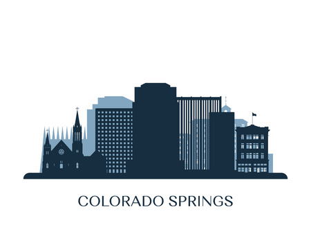 Colorado Springs skyline, monochrome silhouette. Vector illustration.