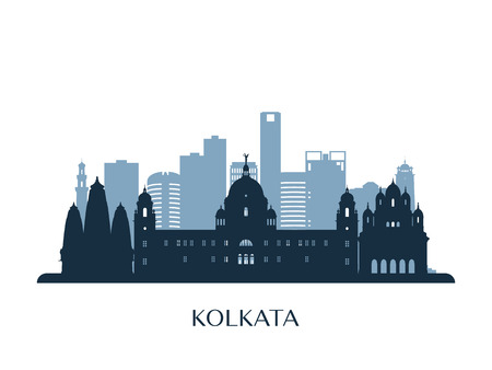 Kolkata skyline, monochrome silhouette. Vector illustration. Illustration