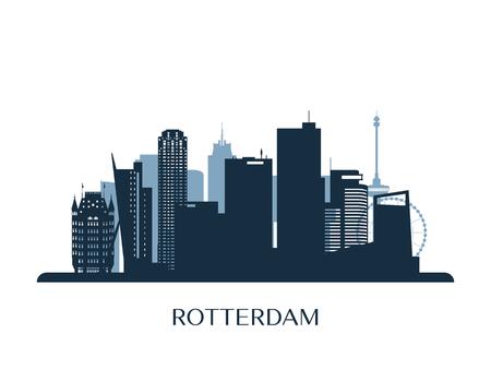 Rotterdam skyline, monochrome silhouette. Vector illustration. Stock Illustratie