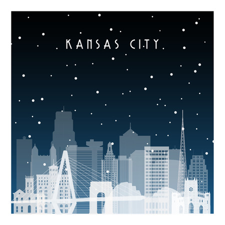 Winter night in Kansas City. Night city in flat style for banner, poster, illustration, background.
