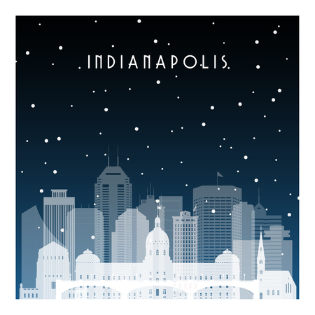 Winter night in Indianapolis. Night city in flat style for banner, poster, illustration, background.