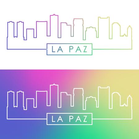 La Paz skyline. Colorful linear style. Editable vector file.