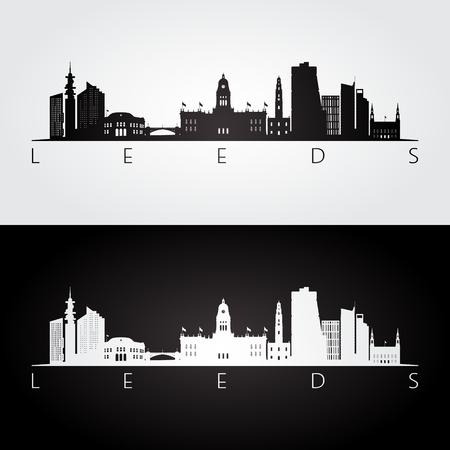 Leeds skyline and landmarks silhouette, black and white design, vector illustration.
