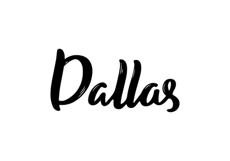 Dallas - hand drawn lettering name of USA city. Handwritten inscription. Vector illustration. Çizim