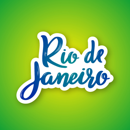 Rio de Janeiro - hand drawn lettering name of Brazil city. Sticker with lettering in paper cut style. Vector illustration.