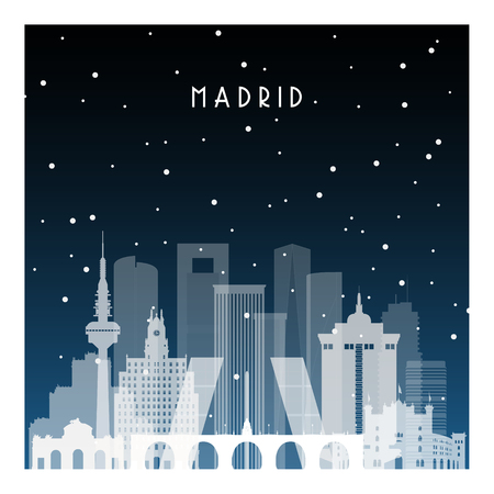 Winter night in Madrid. Night city in flat style for banner, poster, illustration, background. Vectores