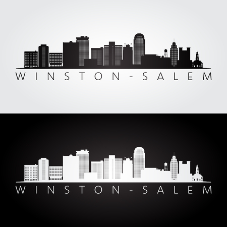 """Winstonâ€""""Salem, USA silhouette d'horizon et de points de repère, design noir et blanc, illustration vectorielle."""