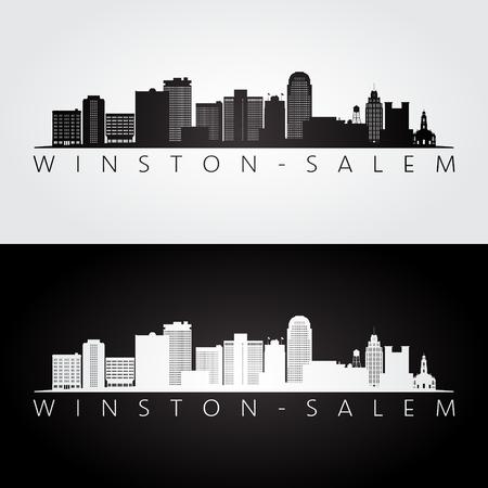Winston - Salem, USA Skyline und Wahrzeichen Silhouette, Schwarz-Weiß-Design, Vektorillustration.