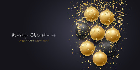 Merry Christmas and Happy New Year on dark background. Holiday banner. Gold and Black Christmas balls. Vector illustration.