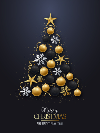 Greeting card with christmas tree. Shiny Christmas-tree decorations, balls, stars and snowflakes on a dark background. Merry Christmas and Happy New Year. Vector illustration.