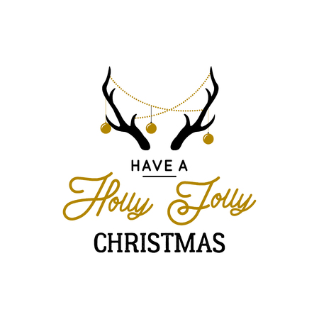 Deer horns with decorative garlands and text Holly Jolly. Christmas vector design.