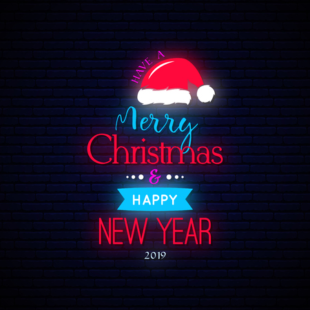 Merry Christmas and Happy New Year banner. Neon effect. Vector illustration.