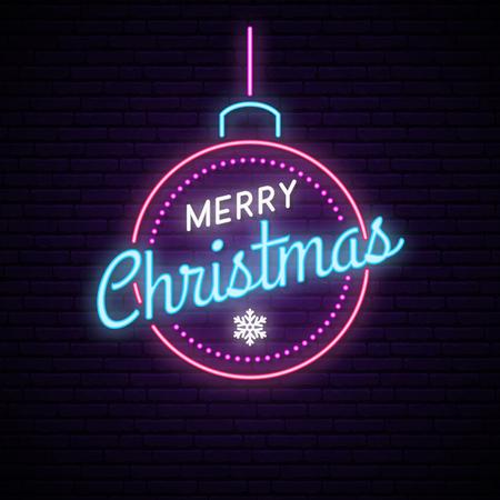 Neon ball with inscription Merry Christmas. Shiny festive banner. Vector illustration.