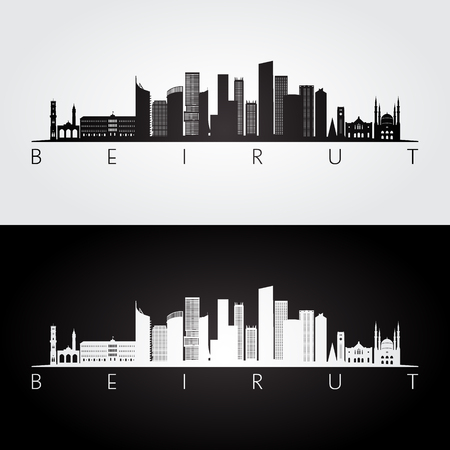 Beirut skyline and landmarks silhouette, black and white design, vector illustration.