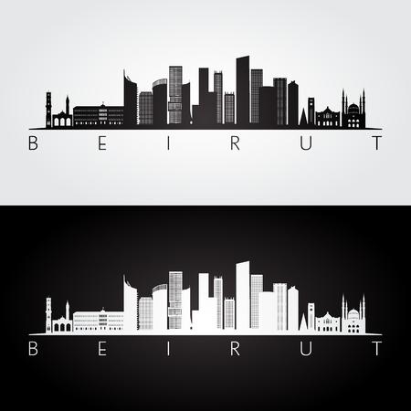 Silueta de horizonte y monumentos de Beirut, diseño en blanco y negro, ilustración vectorial.