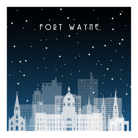 Winter night in Fort Wayne. Night city in flat style for banner, poster, illustration, background.