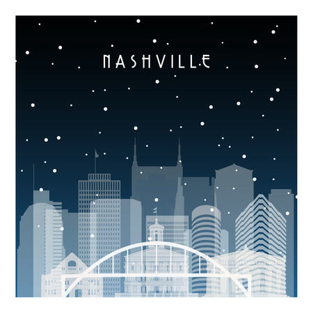 Winter night in Nashville. Night city in flat style for banner, poster, illustration, background.