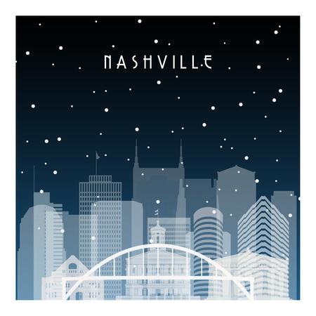 Winternacht in Nashville. Nachtstadt im flachen Stil für Banner, Poster, Illustration, Hintergrund. Vektorgrafik