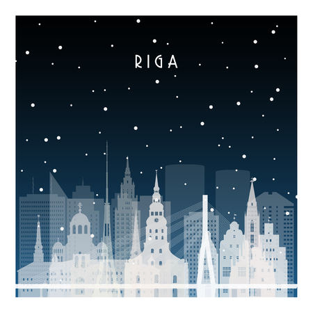 Winter night in Riga. Night city in flat style for banner, poster, illustration, background.