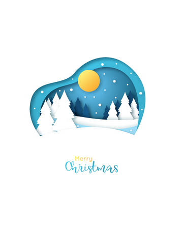 Merry Christmas greeting card. Paper art style. Winter snowy forest. Christmas night. Illustration