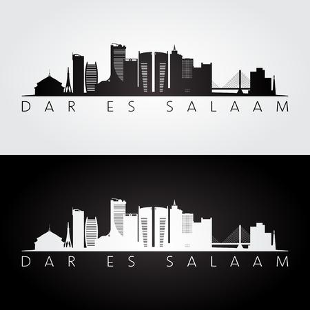Dar es Salaam skyline and landmarks silhouette, black and white design, vector illustration.