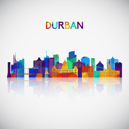 Durban skyline silhouette in colorful geometric style. Symbol for your design. Vector illustration.