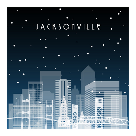 Winter night in Jacksonville. Night city in flat style for banner, poster, illustration, background. Vetores